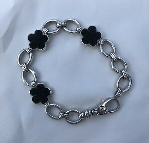 Lagos Sterling Silver Love Me Love Me Not Onyx Oval Link Bracelet Size Medium