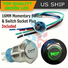 12V 16mm Green LED Light Car Momentary Push Button Air Horn Switch Control