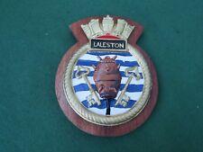 ROYAL NAVY HMS LALESTON CAST ALUMINIUM SHIPS PLAQUE
