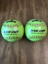 Worth Official League Softballs 11'' Balls Yellow Fastpitch (2-Pack) • New