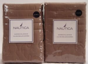 Nautica Woodland Floral 2 Quilted Euro Shams - Brown