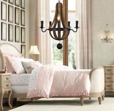 LE Rustic Wood & Iron Wine Barrel Chandelier Pendant Lamp E12 Candle Light US