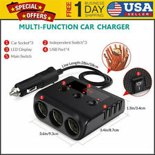 12V/24V 3 Sockets 4 USB Car Charger Adapter DC Outlet Cigarette Lighter Splitter