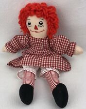 Vintage Raggedy Ann Cloth Doll Gingham Red & White Checkered Dress Stitched Face