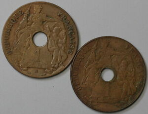 1921 French Indo China 1 Cent Coins with & without  Mintmark (19092404R)