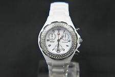 WOMEN'S MICHELE TAHITIAN MWW12A000001 WHITE CERAMIC 100 DIAMOND CHONOGRAPH WATCH