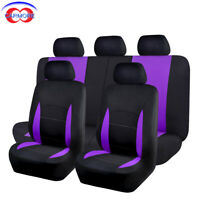 9 Part Universal Car Seat Covers Front Rear Head Rests Full Set Purple Cover