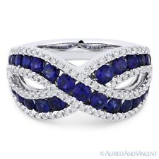 Band Right-Hand Ring in 18k White Gold 2.09ct Round Cut Sapphire & Diamond Pave