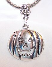 Jack-O-Lantern Pumpkin Halloween Dangle Charm for Silver European Bead Bracelets