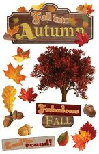PAPER HOUSE FALL INTO AUTUMN TREES LEAVES DIMENSIONAL 3D SCRAPBOOK STICKERS