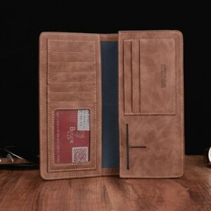 Men's Bifold Leather Breast Pocket Card Holder Suit Purse Long Wallet Checkbook