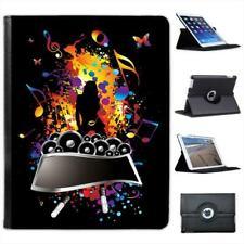 Rock Superstar Woman Music Speaker Folio Wallet Leather Case For iPad 2, 3 & 4