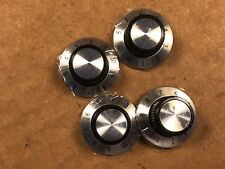 "4 NOS Vintage Black & Silver Numbered 1"" Knobs 1/4"" shaft Guitar Amp (Qty Avail)"