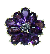Kurt Wayne Vintage Siberian Amethyst Diamond Ring 18K Gold Heavy Designer Sign