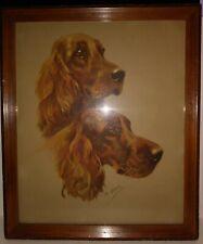 "Vintage Dog Print Wood Framed + Glass Irish Setter Size: 12"" x 14.5"" by: M Gear"