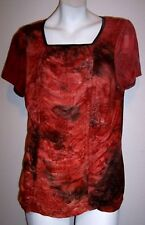 Dressbarn Top 1X Orange Brown Boho Hippy Stretch Knit Draped Bodice Shirt Blouse