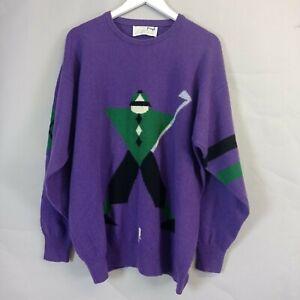 Vintage Nick Faldo Pringle Mens Jumper Size XL Purple Wool Crew Neck Golf Retro