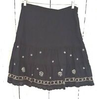 Womens Outfit JPR M Cotton Skirt Black Embroidered Tiered Flare Boho Medium