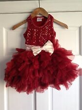 Ooh La La Couture Red Dress Holiday Pageant Fancy Christmas Girls Size 5