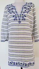 SPORTSCRAFT White/Blue/Yellow Kaftan Top Size 10