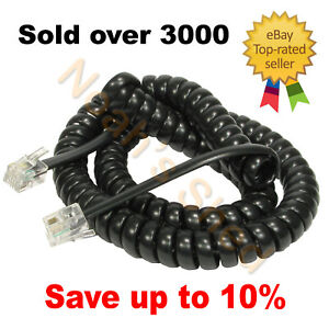 Telephone Handset Curly Replacement Coiled Cord Cable 4P4C Plug 3 Metre 3m Black