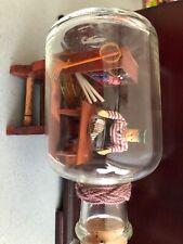 Glass Bottle w Sailor Man Inside Building Ship in a bottle