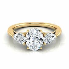 1.60 Ct Oval & Pear Three Stone Diamond Engagement Wedding New Ring