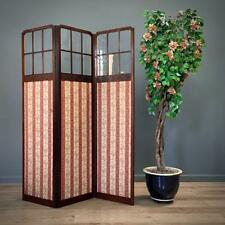 More details for attractive large antique edwardian mahogany glass & fabric screen