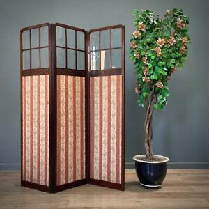 Attractive Large Antique Edwardian Mahogany Glass & Fabric Screen