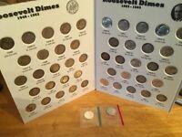COMPLETE Set Silver Roos. Dimes(Circ,AU, BU)1946 - 1964 in Full Color EM  Folder