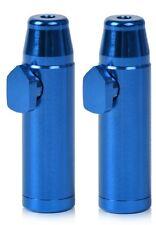 2 x Snuff Bullet Dispenser Metal Aluminum Snorter Rocket Box Nasal Blue Color