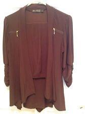 Picadilly Fashions BROWN Shirred Sleeves Gold Zipper Jacket & Matching Pants S/P