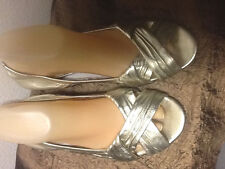 "Cole Haan Mettalic Gold Leather Open Toe Sandal  Flats 9B   10 1/4"" X 3 1/4"""