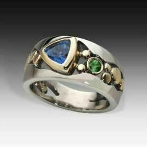 Elegant Two Tone 925 Silver Rings for Women Blue Sapphire Ring Size 9