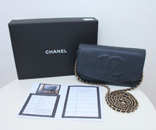 Authentic Chanel WOC Timeless Navy Blue Caviar Leather Wallet on Chain Bag
