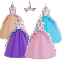 Kids unicorn princess Party Gown flower girl Dress birthday gift 5-14Years