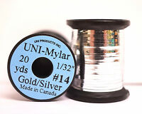 """Mylar Tinsel UNI 1/32"""" = 0,8mm #14 zweifarbig GOLD/SILVER"""