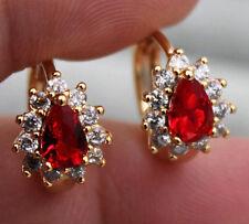 18K Yellow Gold Filled - Flower Waterdrop Ruby Topaz Zircon Lady Hoop Earrings