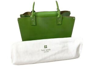 Kate Spade New York Lime Green Leather Tote Handbag Shoulder Bag With Dust Cover