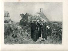 «Evening in Finisterre» grabado por E. Salmon sobre obra de Jules  Breton en 188