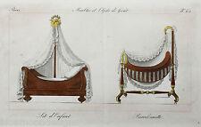 Lit d'Enfant Barcelonnette 1800 Möbelentwurf Kinderbett Wiege Cot Craddle