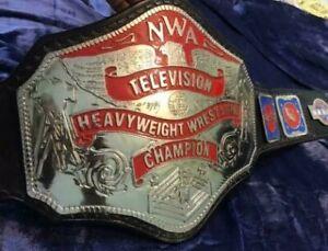 NWA Television Heavyweight Championship Belt Adult Size BRASS / ZINC LEATHER