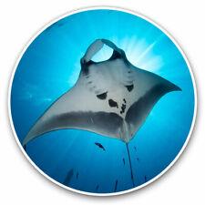 2 x Vinyl Stickers 7.5cm - Majestic Manta Ray Sea Life Cool Gift #3453