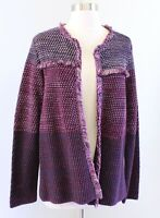 NWT $119 Chicos Purple Burgundy Marled Knit Fringe Open Cardigan Sweater Size 2