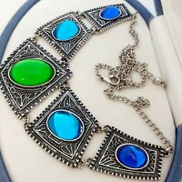 Vintage Tribal Style Large Statement Blue Green Glass Cabochon Bib Necklace #2