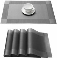 Set of 4 PVC Placemats Non-Slip Heat Insulation Dining Table Place Mats Silver