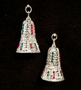 Fabulous Pair Of Vintage Metallic Silver Soft Plastic Christmas Bell Ornaments