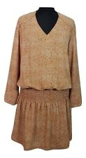 SOFTGREY Dress Size 12 Brown White L38in Summer Evening Party Holiday Everyday