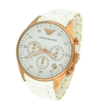NEW EMPORIO ARMANI AR5920 WHITE DIAL SILICONE CHRONOGRAPH LADIES  WATCH