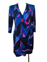 Jacqui E womens wrap dress black purple geometric print work corporate size XL